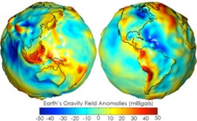Estimate of the present-day gravity field of the Earth  Image credit: NASA