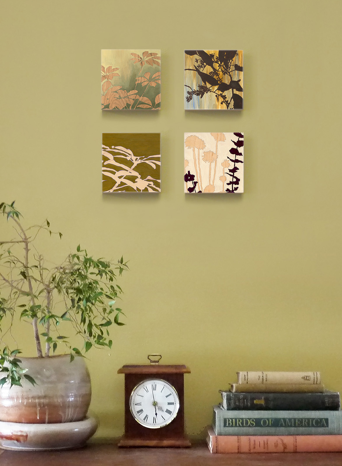 Kim Granstrom,  Outdoor Beauty , Set of 4 art blocks, 5 x 5 x 1-½ each