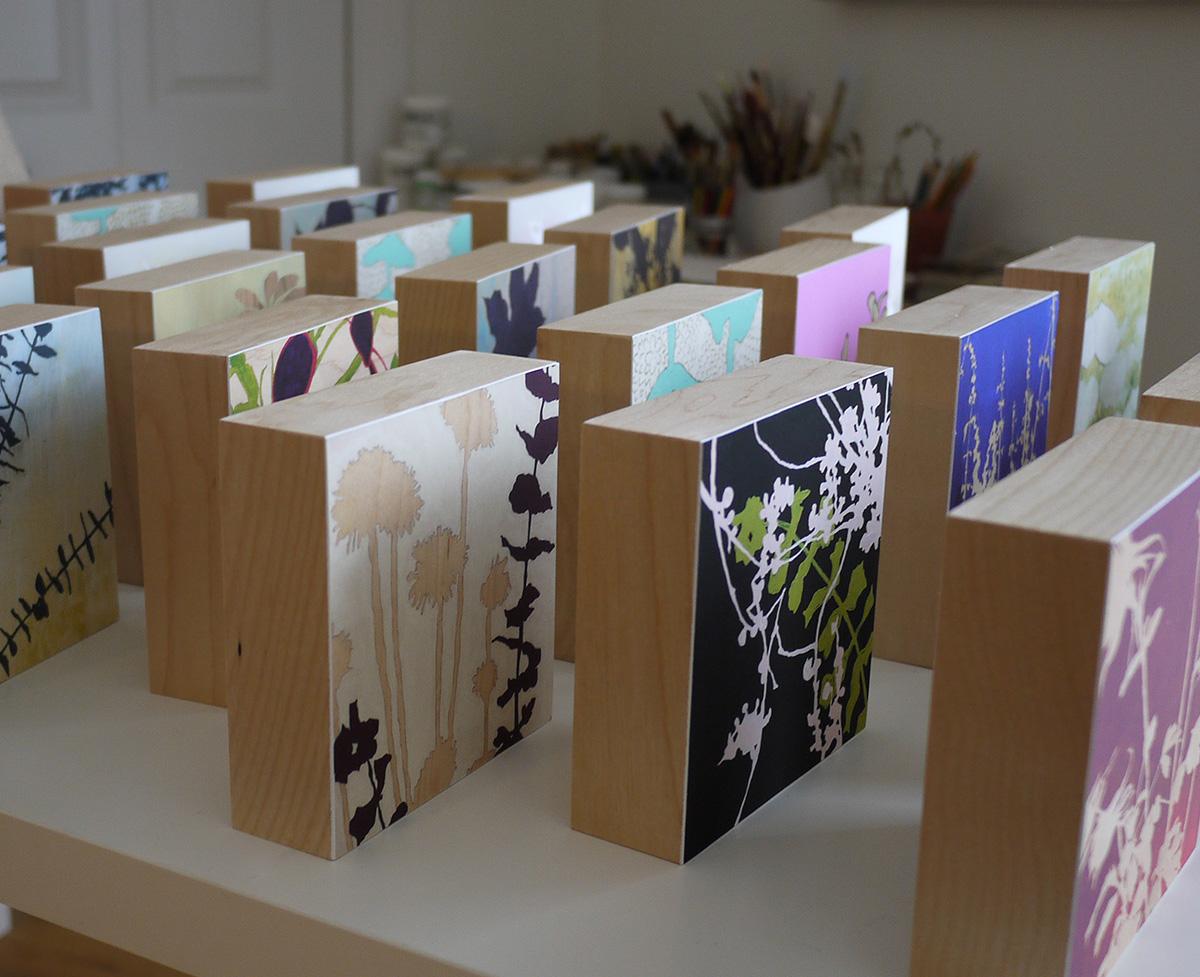 Kim Granstrom, botanical art prints on birch panel, art blocks