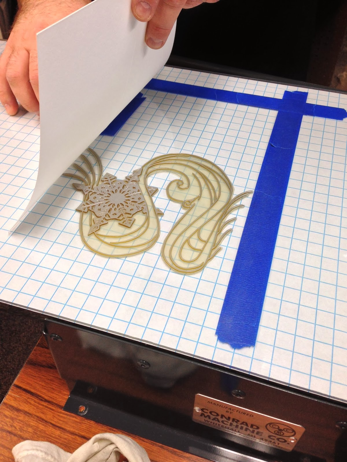 The Snowflake design being printed.