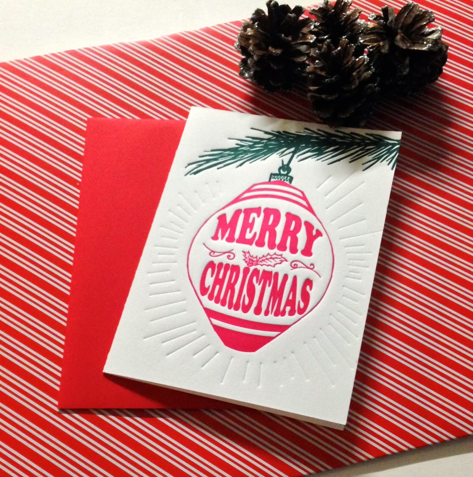 The final Christmas Ornament card with its Cherry Red envelope.