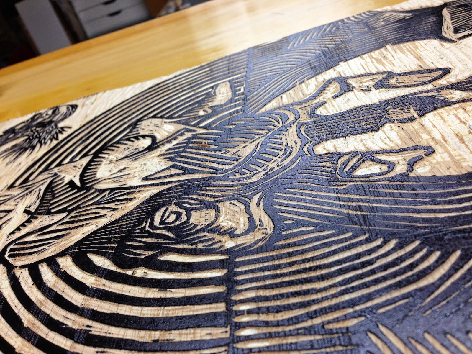 Detail of a woodblock.