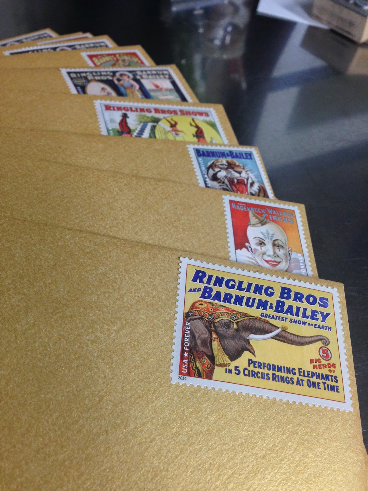 The use of vintage circus stamps was amazing!