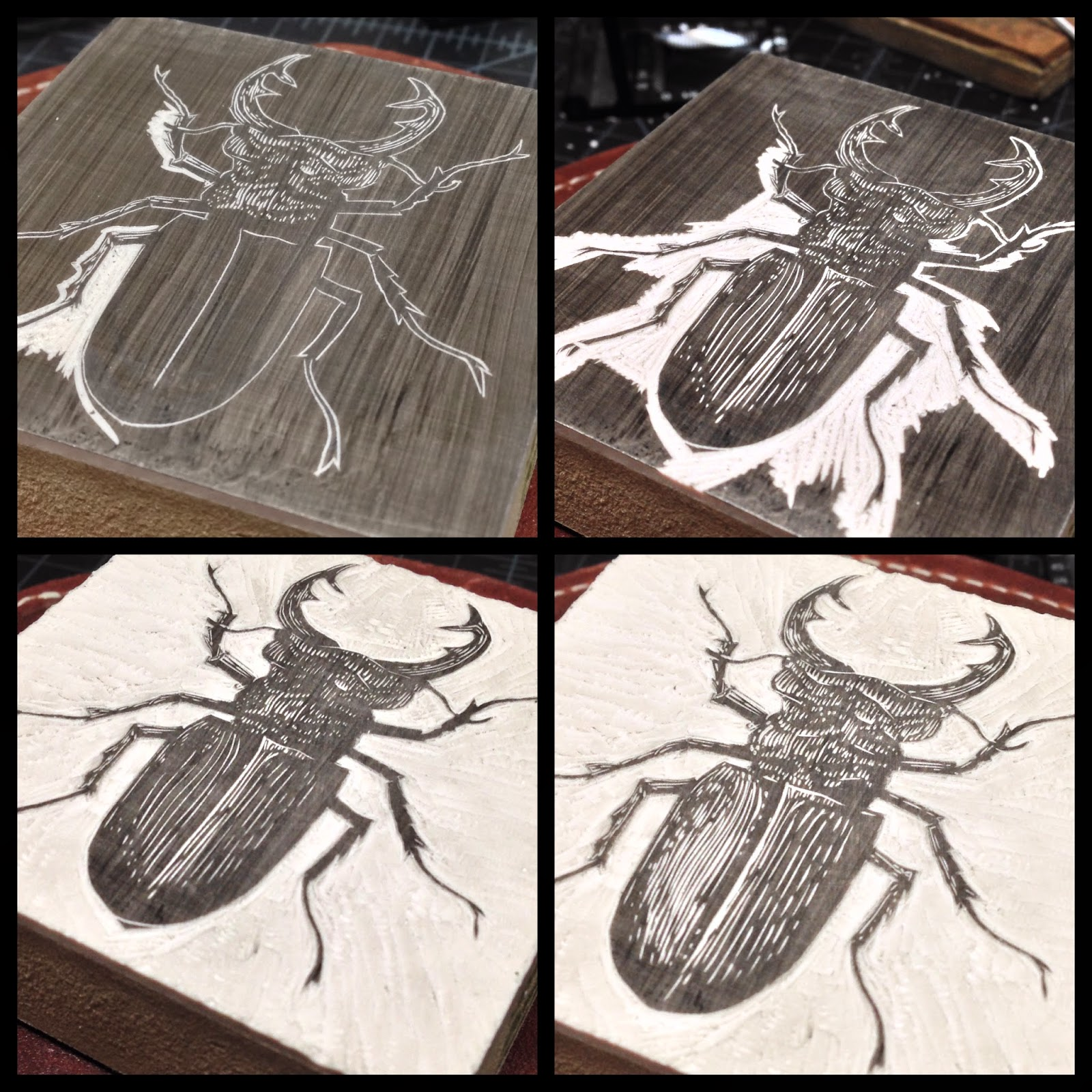 "Engraving the ""Stag Beetle"" block."