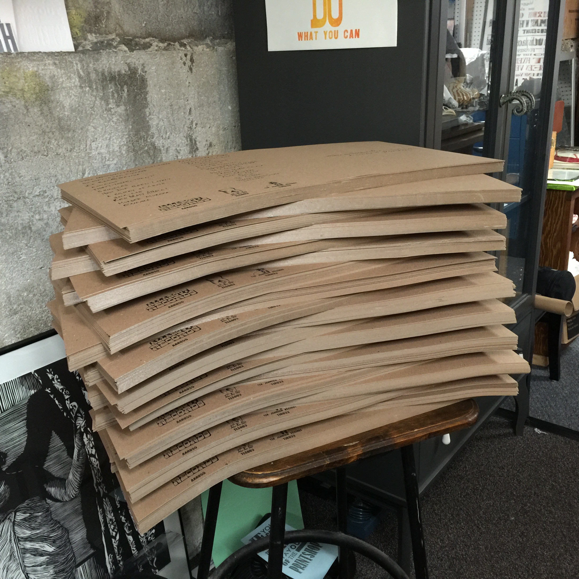 Stack one of two! The covers were 12x24 inch sheets of chipboard. They weighed a ton!