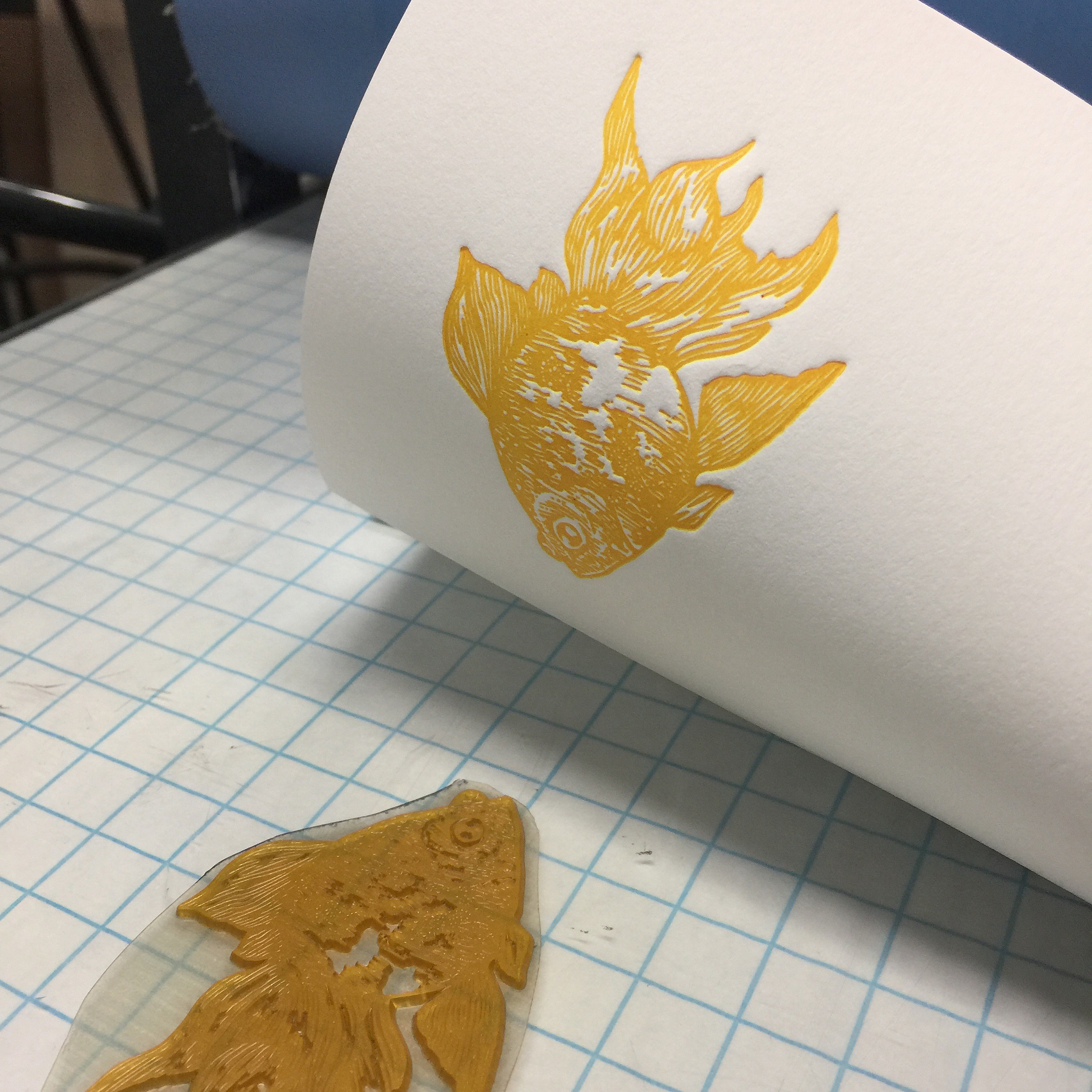 Printed in a warm yellow.