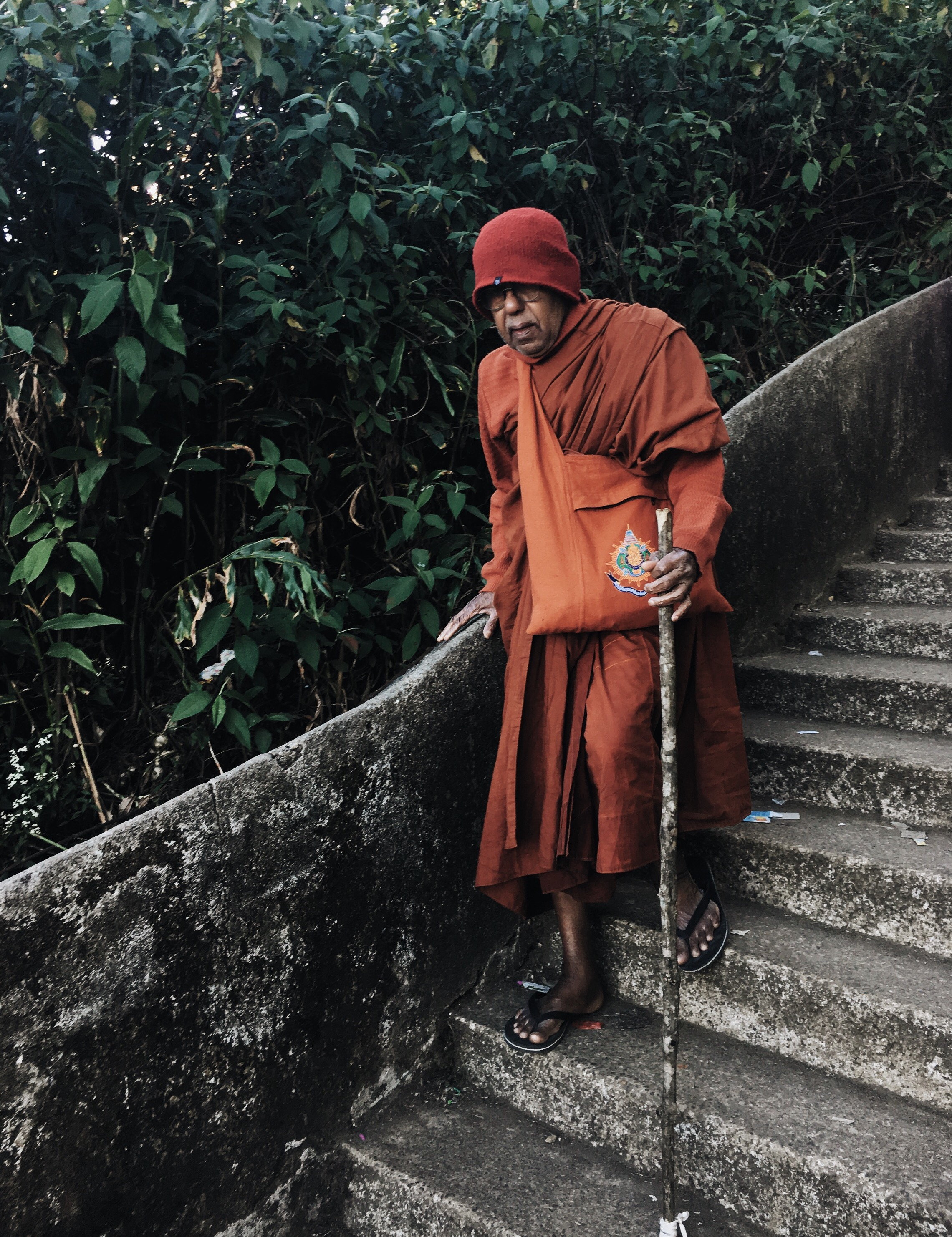 """I call this man the """"Monochrome Monk"""", observed during the descent of definitely the weirdest night of my life. Adam's Peak, Feb 2017"""