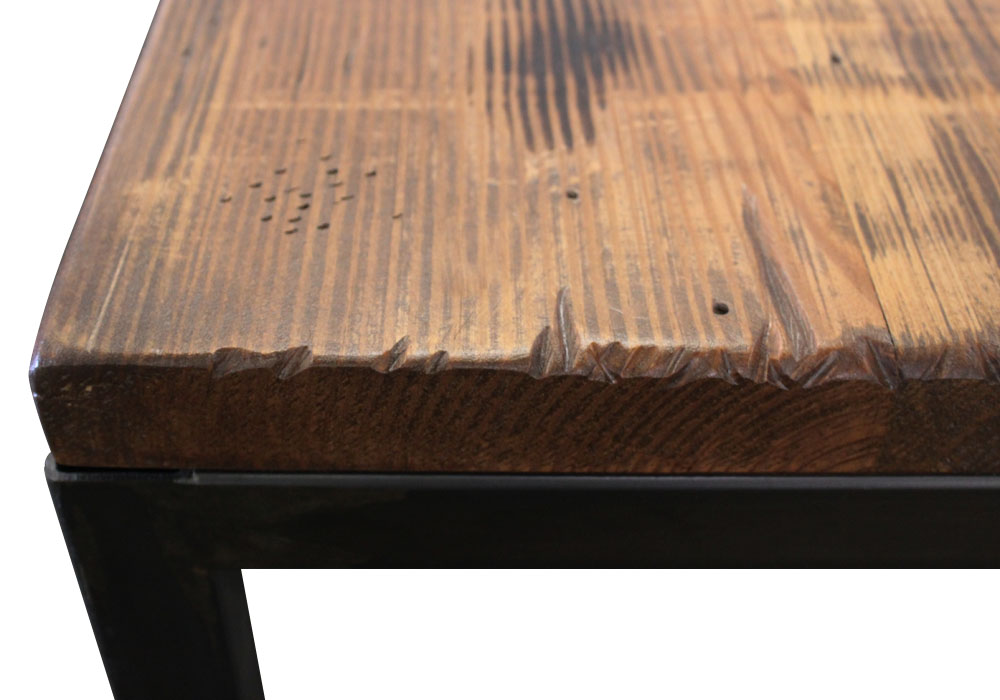 Reclaimed Table Top with Metal Base