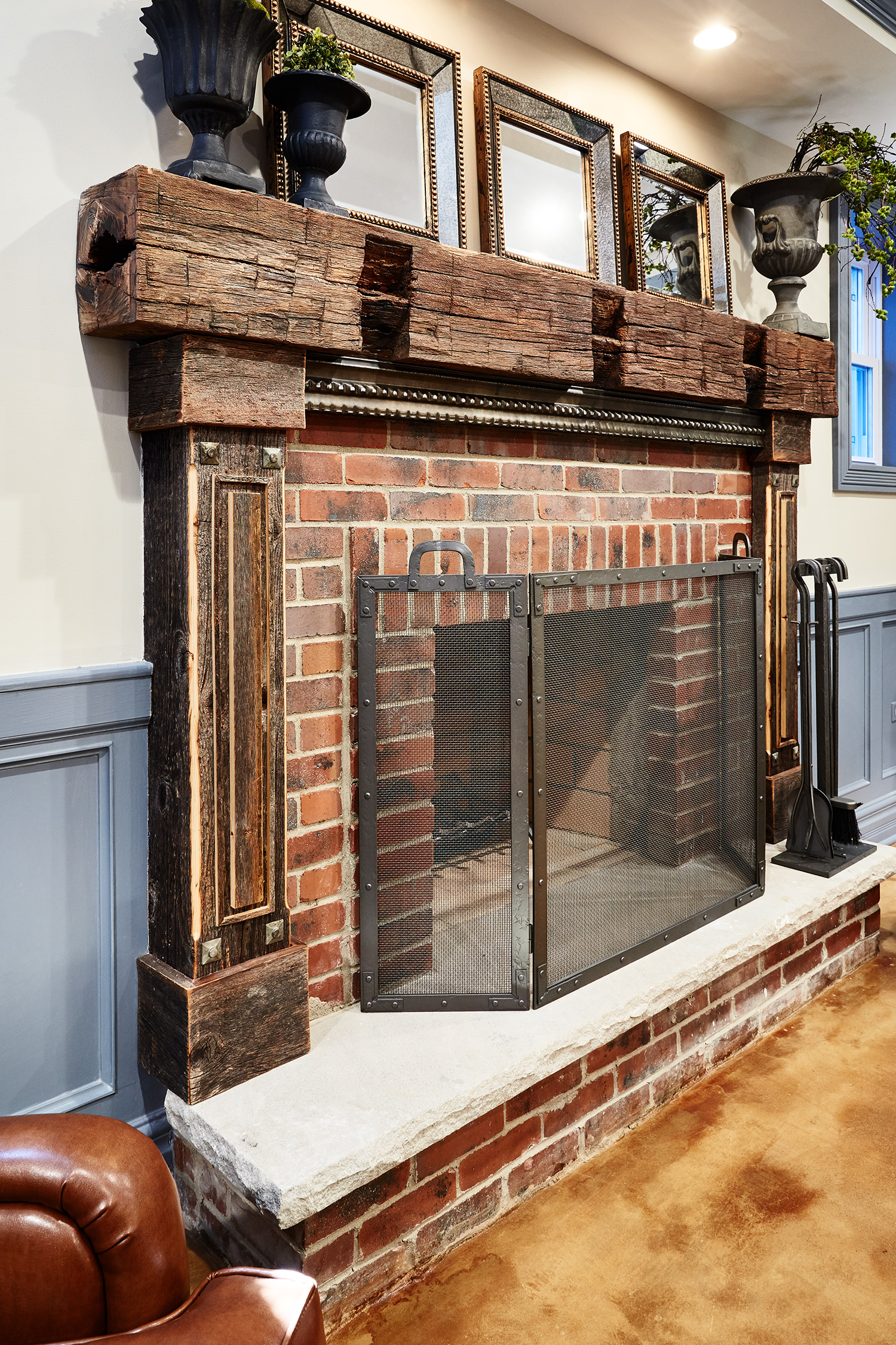 Custom Fireplace Mantle with Reclaimed Barn Wood Beam