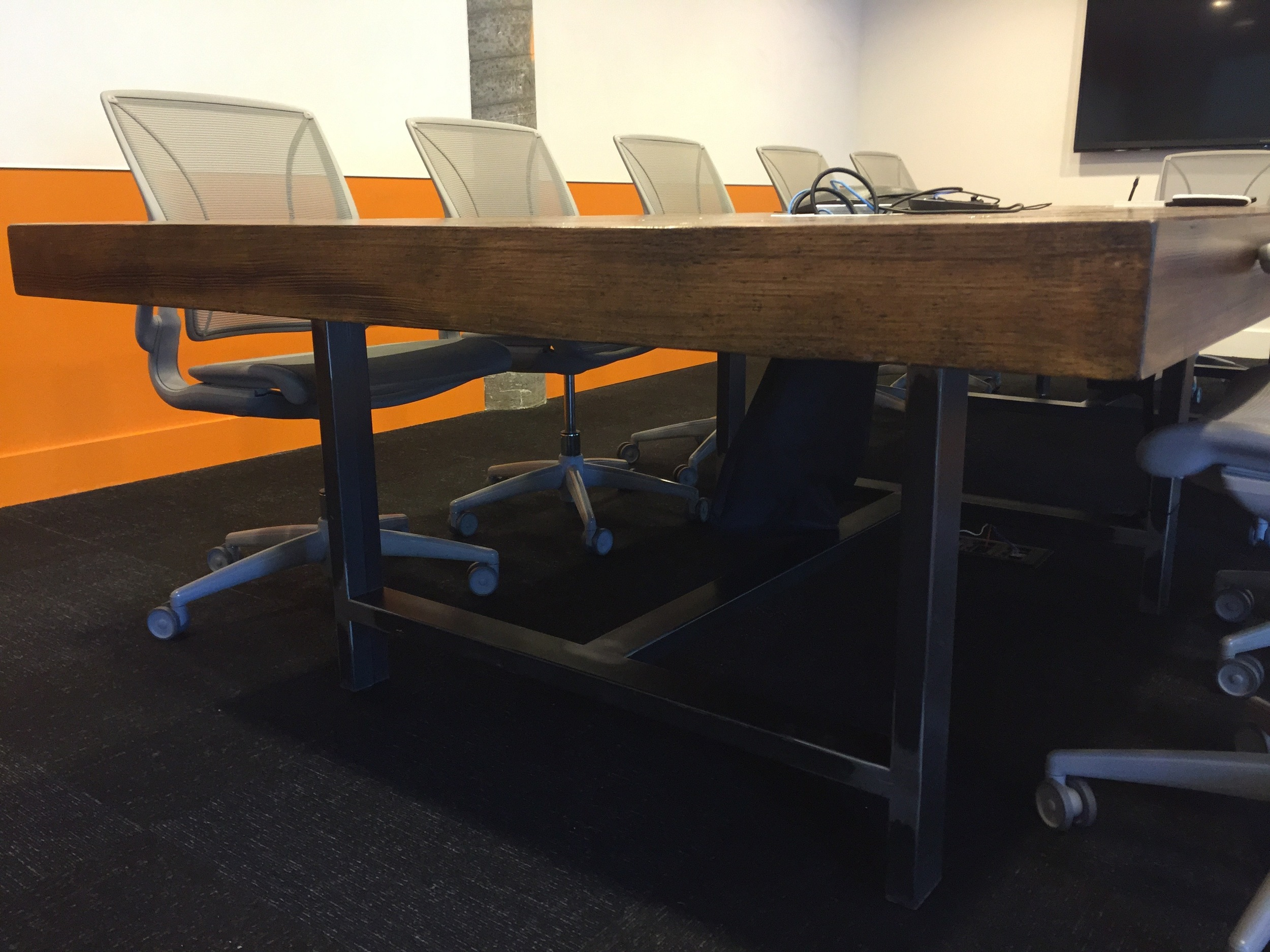 Metal Base on Reclaimed Conference Room Table