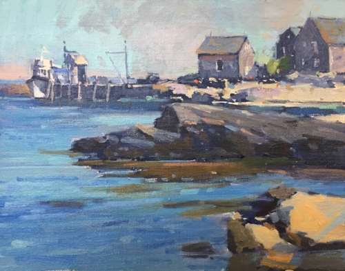 A view of the dock from Fish Beach. 'Monhegan Harbor' oil by David Lussier