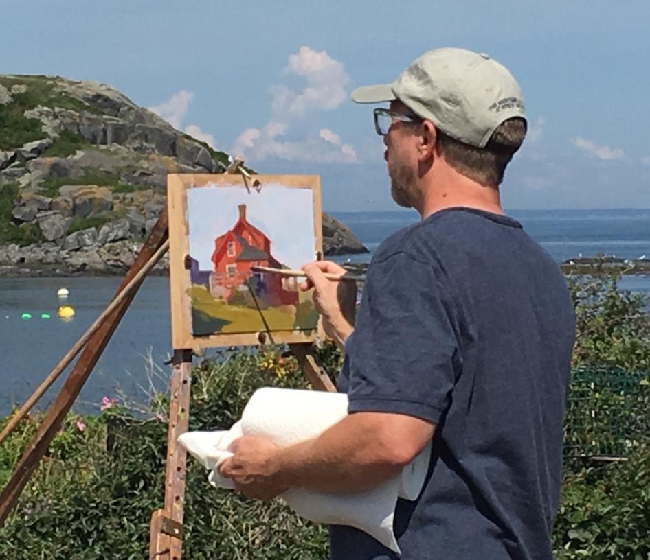 David painting a demo on Monhegan Island.