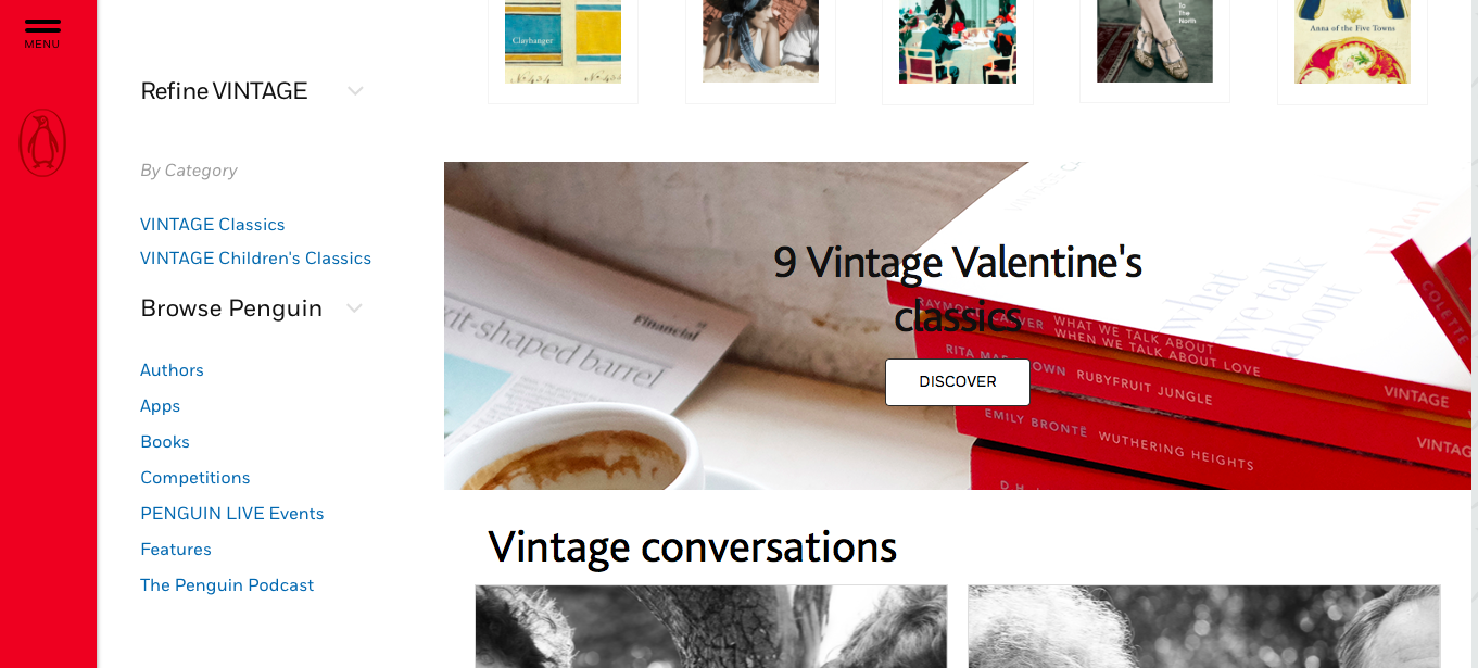 Images on the Vintage website showing the Valentine's campaign