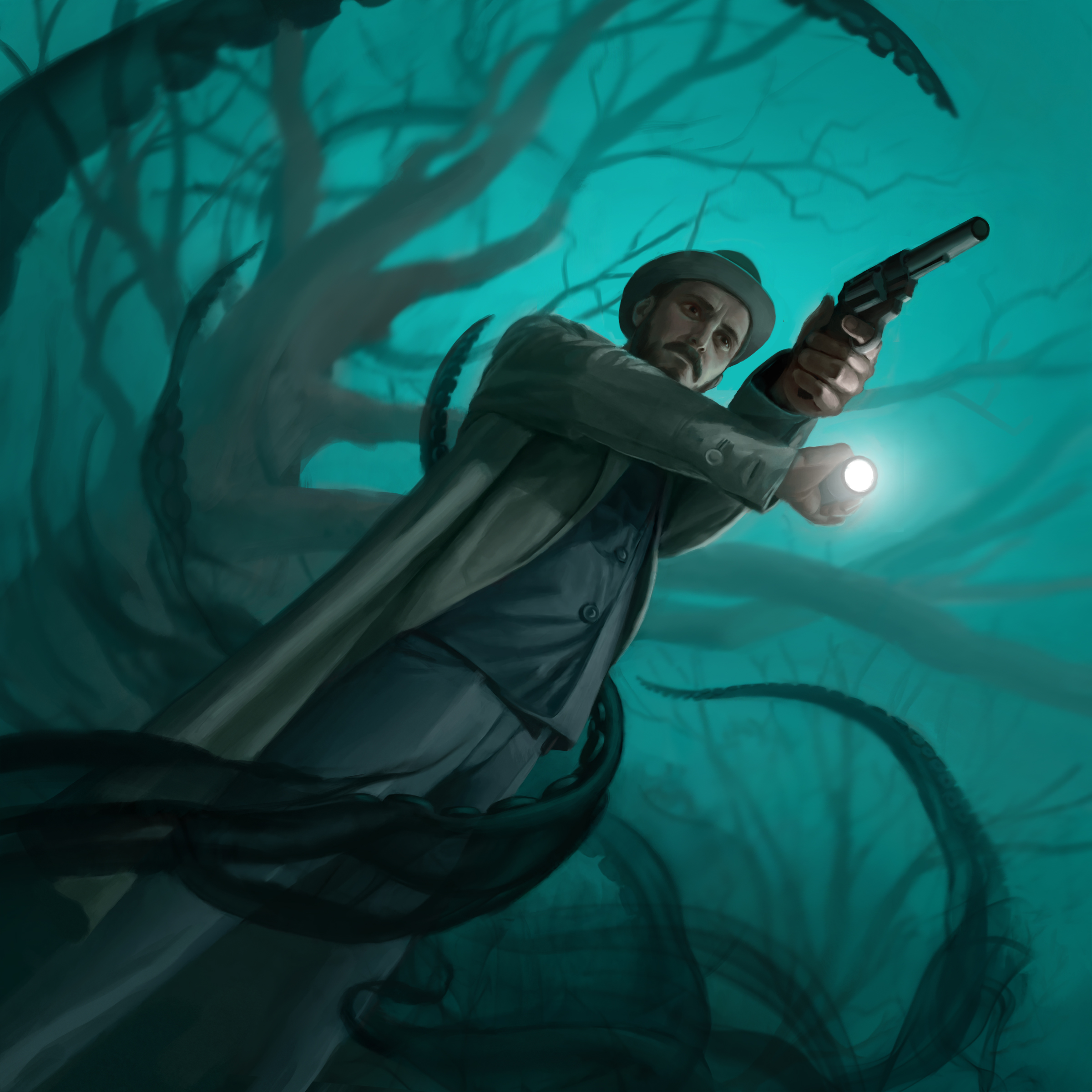 A detective is ambushed by a Cthulhu spirit.
