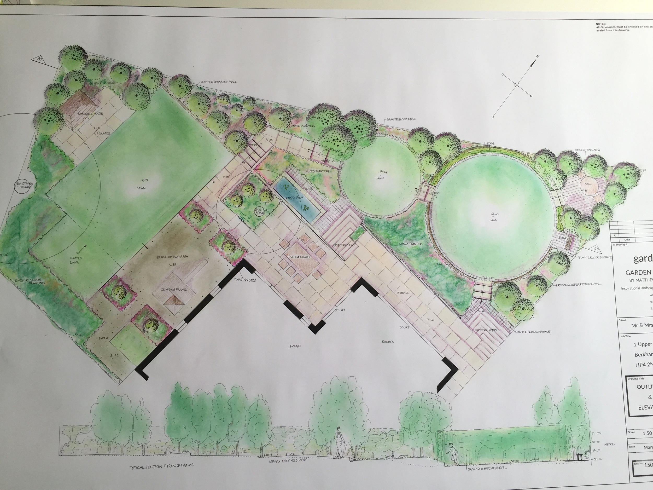 This design takes into account the very irregular shaped plot