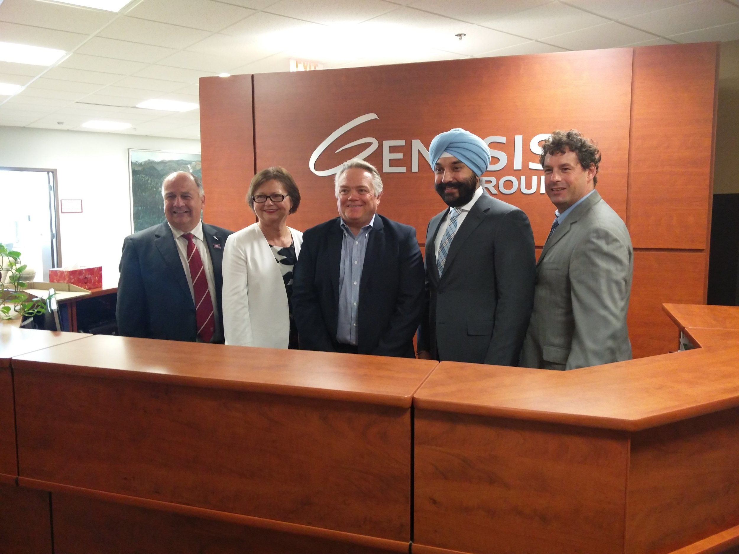 From left: Memorial University President Dr. Gary Kachanoski, the Hon. Minister Judy Foote, Genesis Group President and CEO Greg Hood, Hon. Minister Navdeep Bains. and MP Nick Whalen.