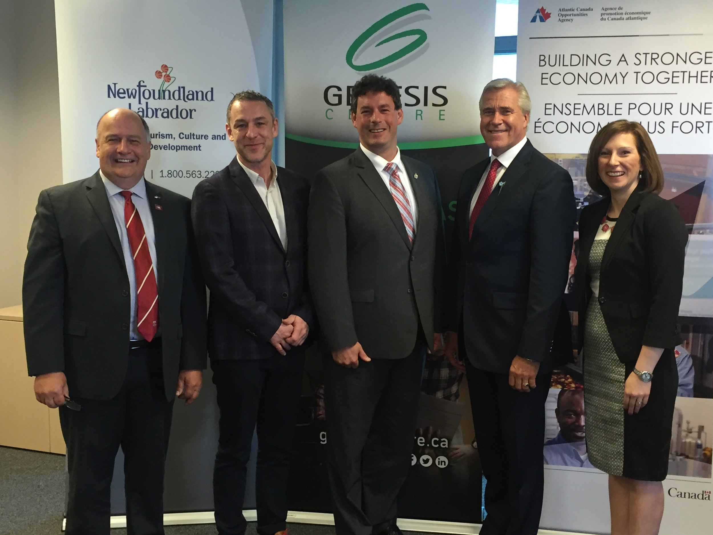 From left: Memorial University President Dr. Gary Kachanoski, Vish CEO Tim Howard, MP Nick Whalen, Premier Dwight Ball, Genesis Centre President and CEO Michelle Simms. Photo credits to Anna Collis.