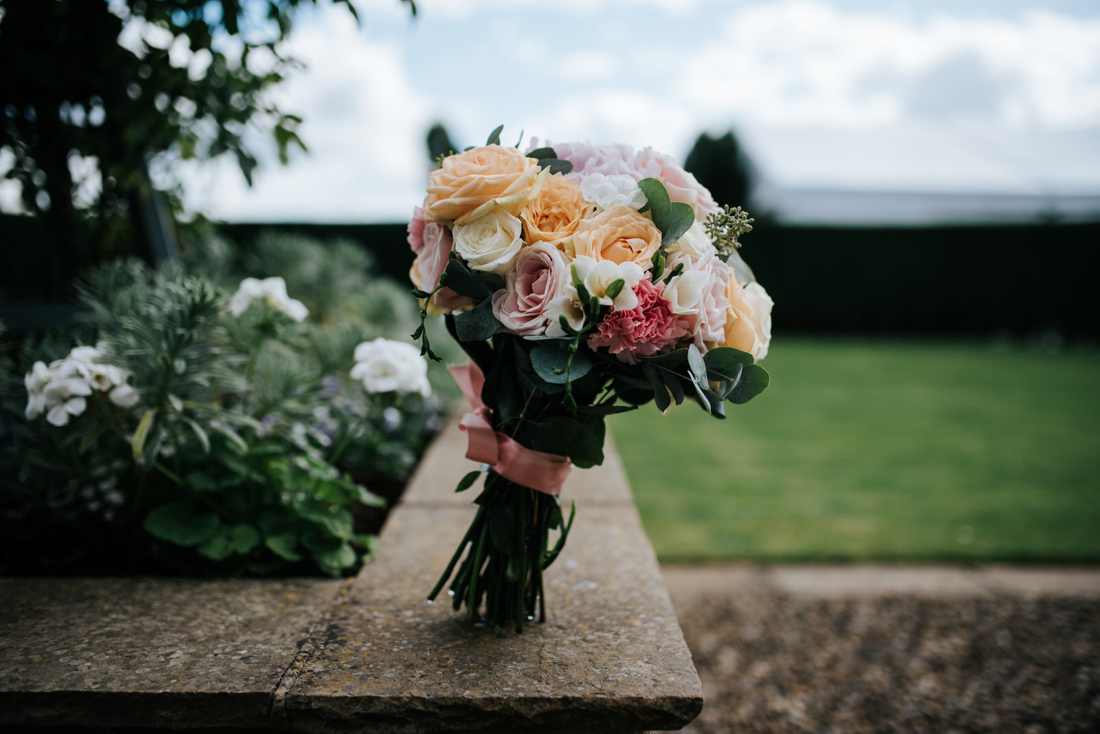 Bridal bouquet with beautiful roses