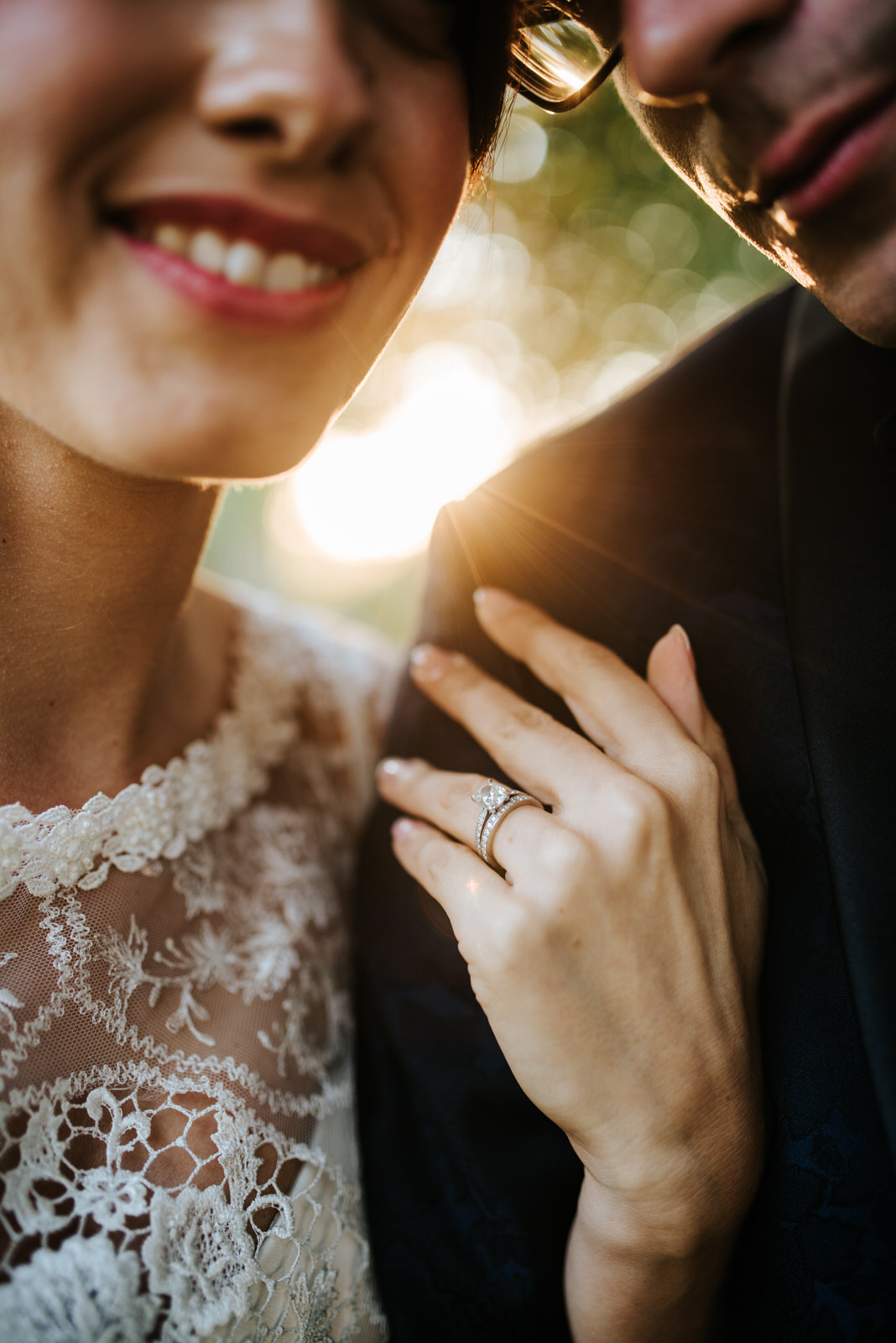 Close-up of Bride's engagement ring as sun sets in stunning York
