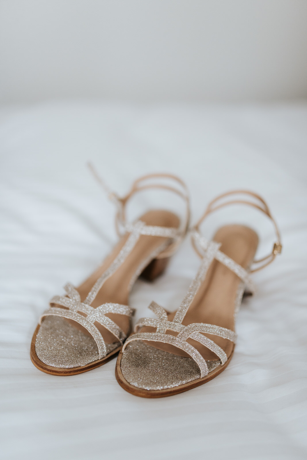 Detail shot of the bride's wedding shoes