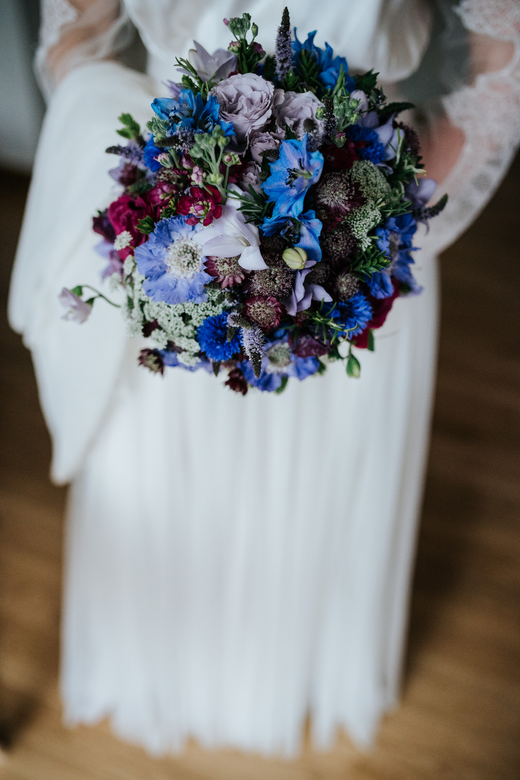 Detail photo of stunning blue bridal bouquet