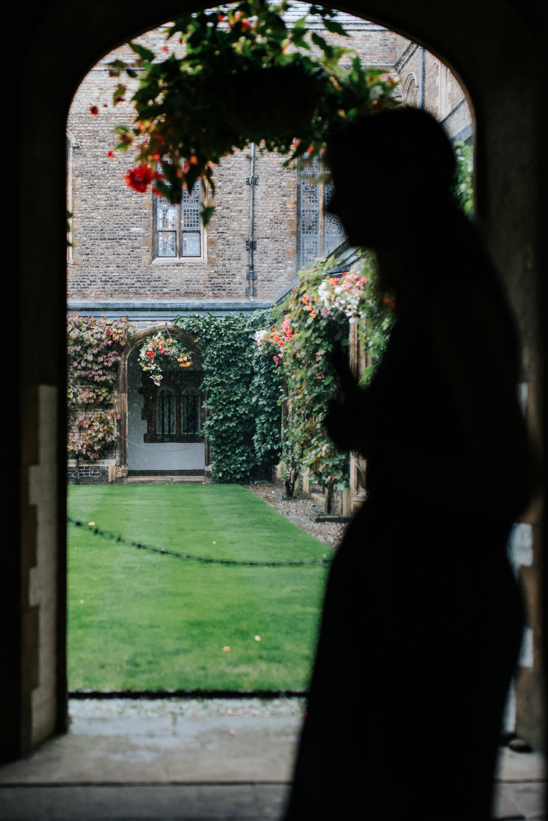 View from Jesus College Chapel into Cloister Court as bridesmaid
