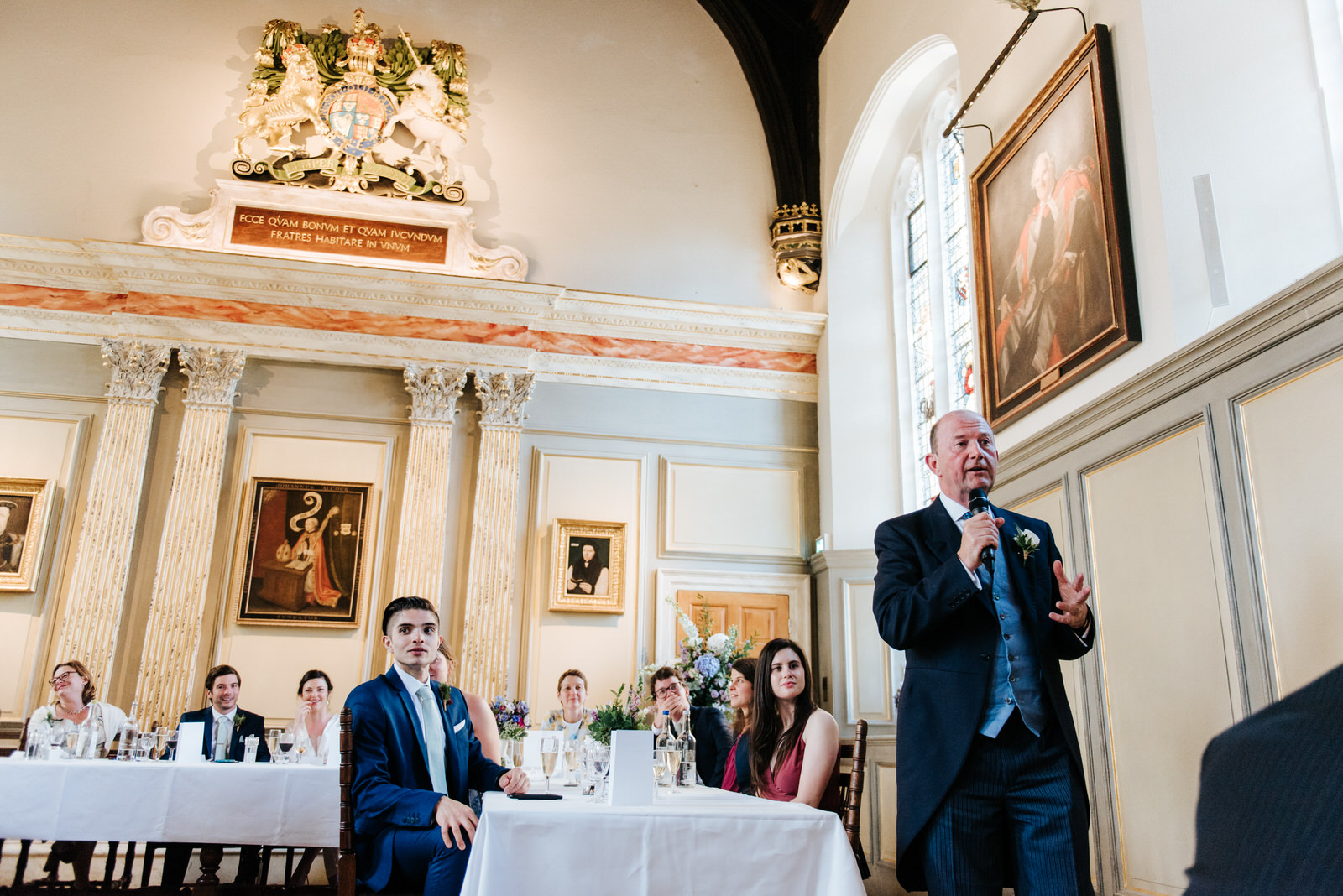 father of the bride delivers heartfelt speech at jesus college d