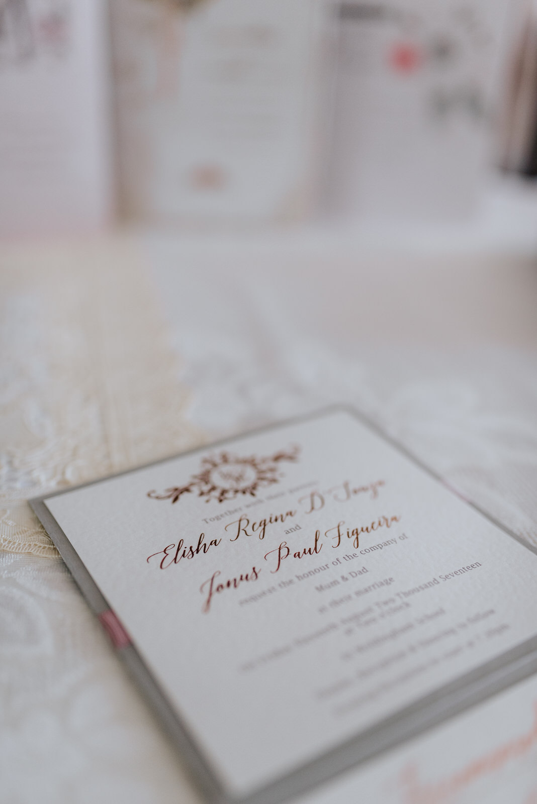 Detail shot of wedding invitation sent to guests