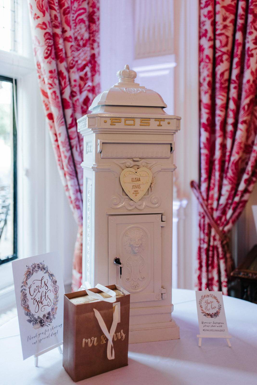 Postbox bride and groom designed themselves so that guests could