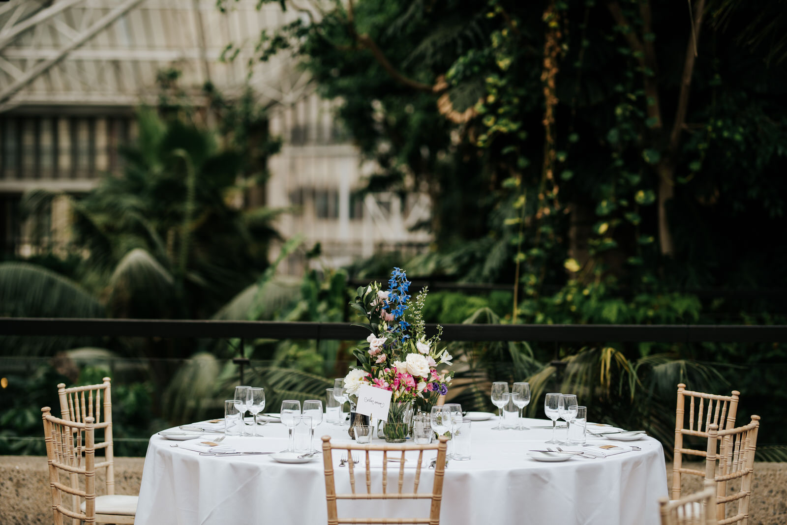 Photograph of table set-up at barbican centre wedding venue with