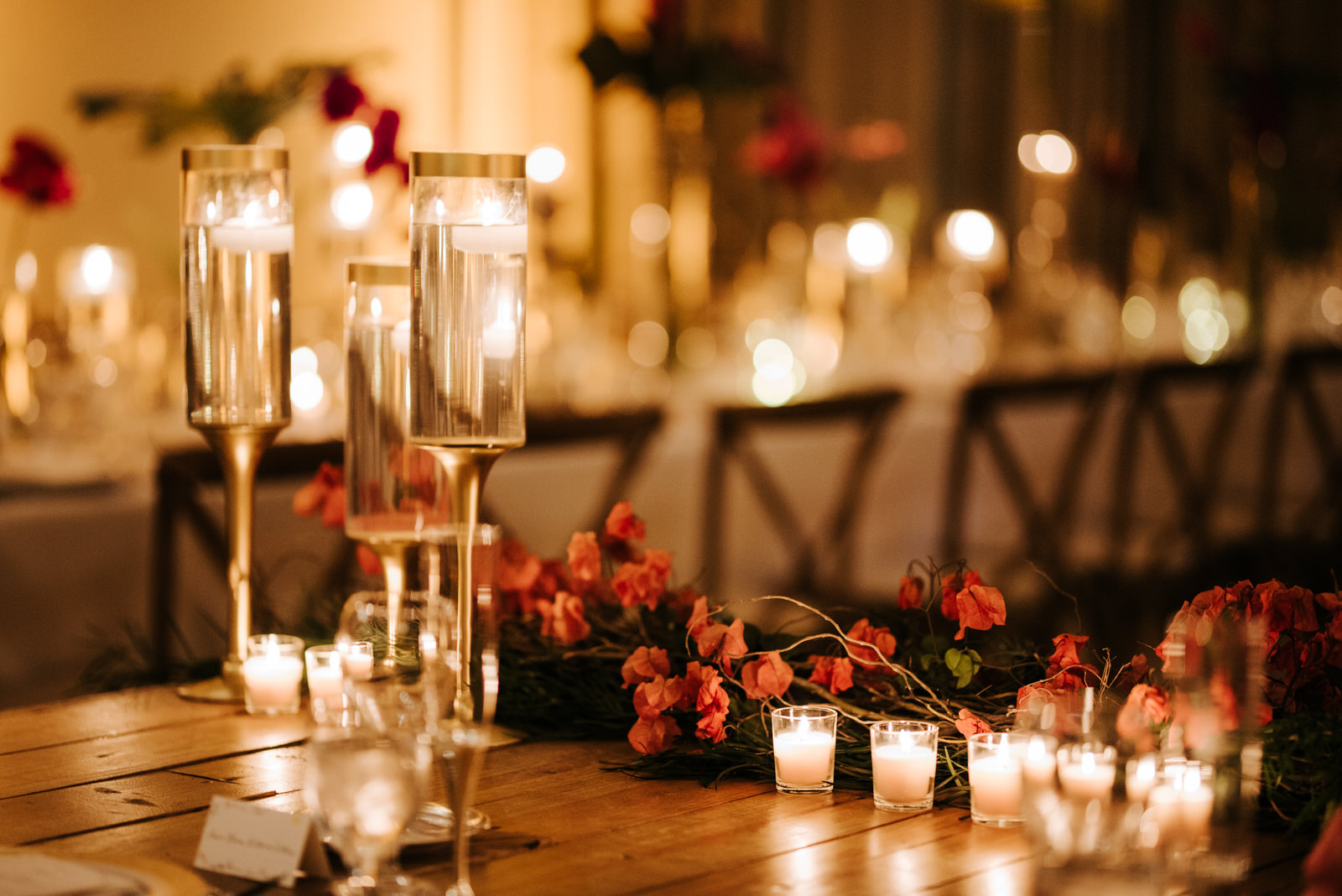 Close up photograph of decorations and candles on main table in the room