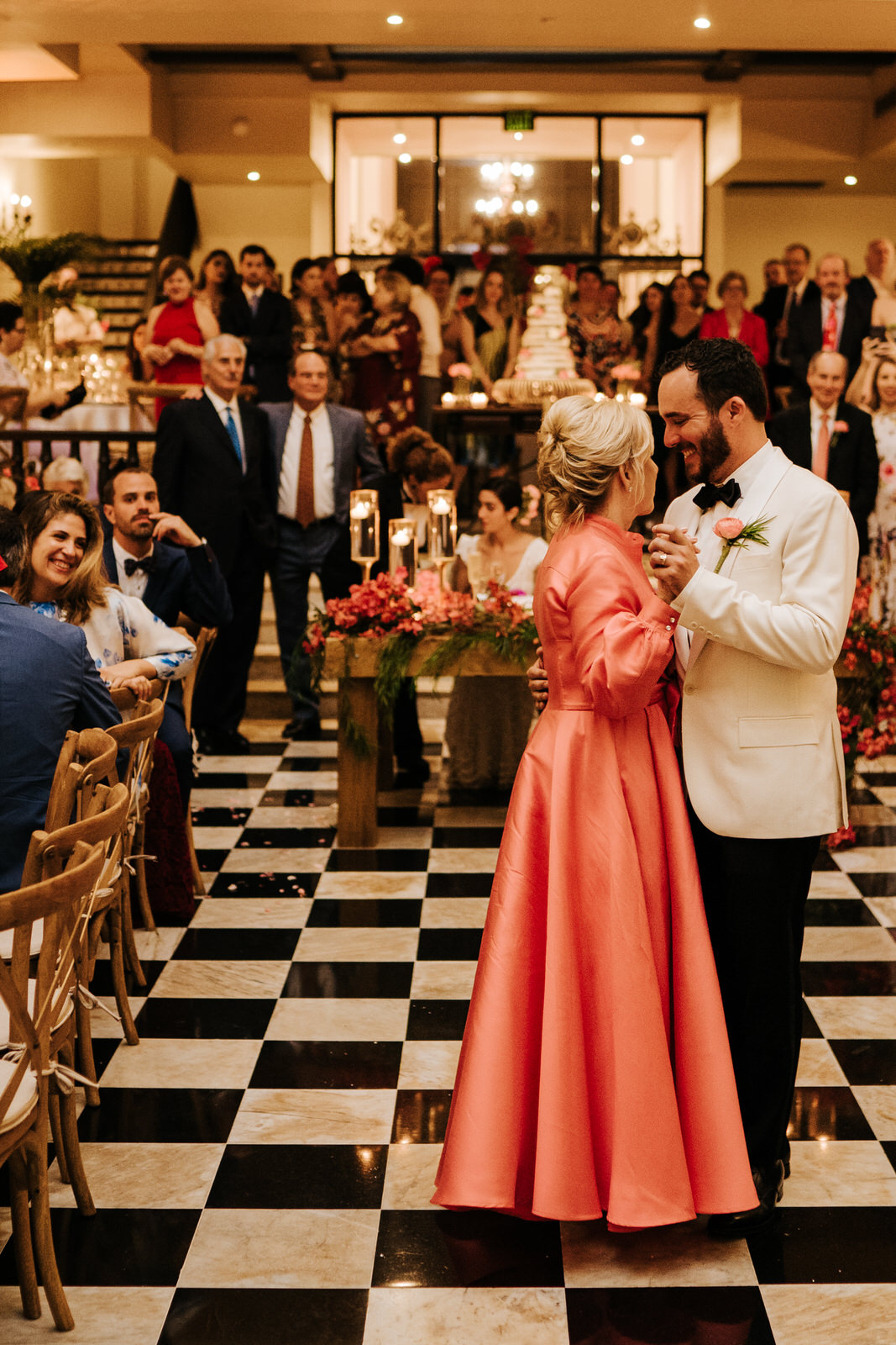 Groom dances with his mother during the wedding reception