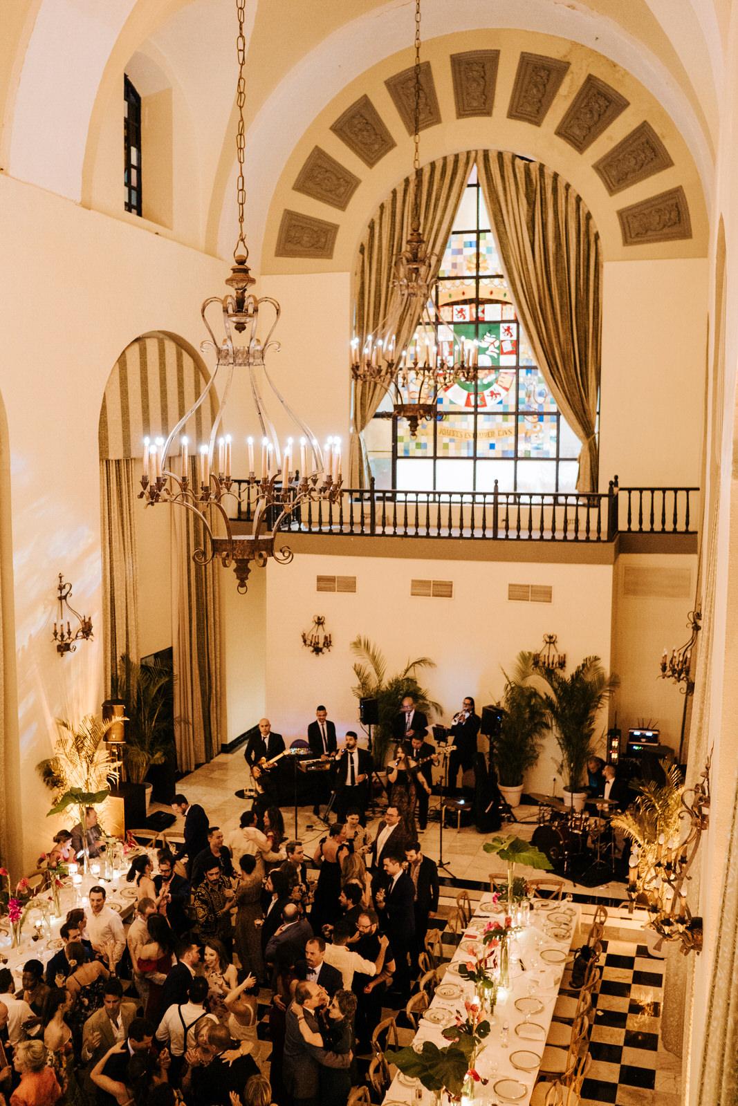 Wide photograph of the dancefloor and beautiful wedding room at El Convento in Old San Juan Puerto Rico