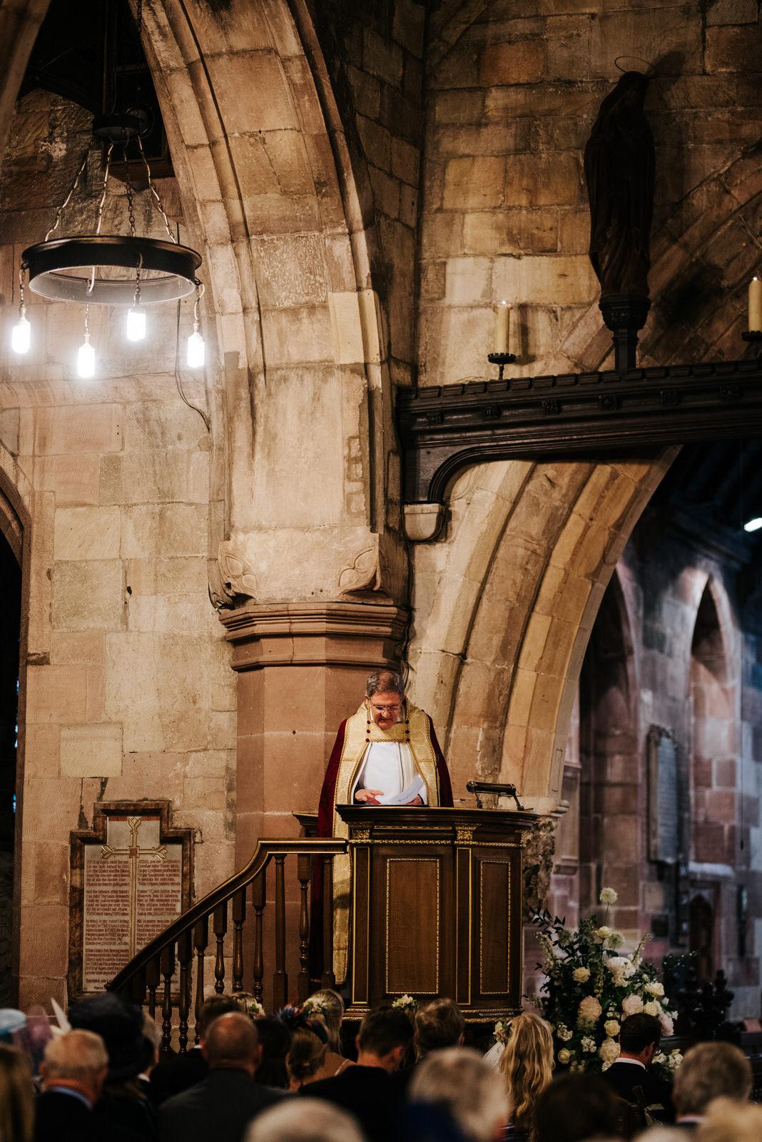 Vicar reads sermon during wedding ceremony in Hawarden