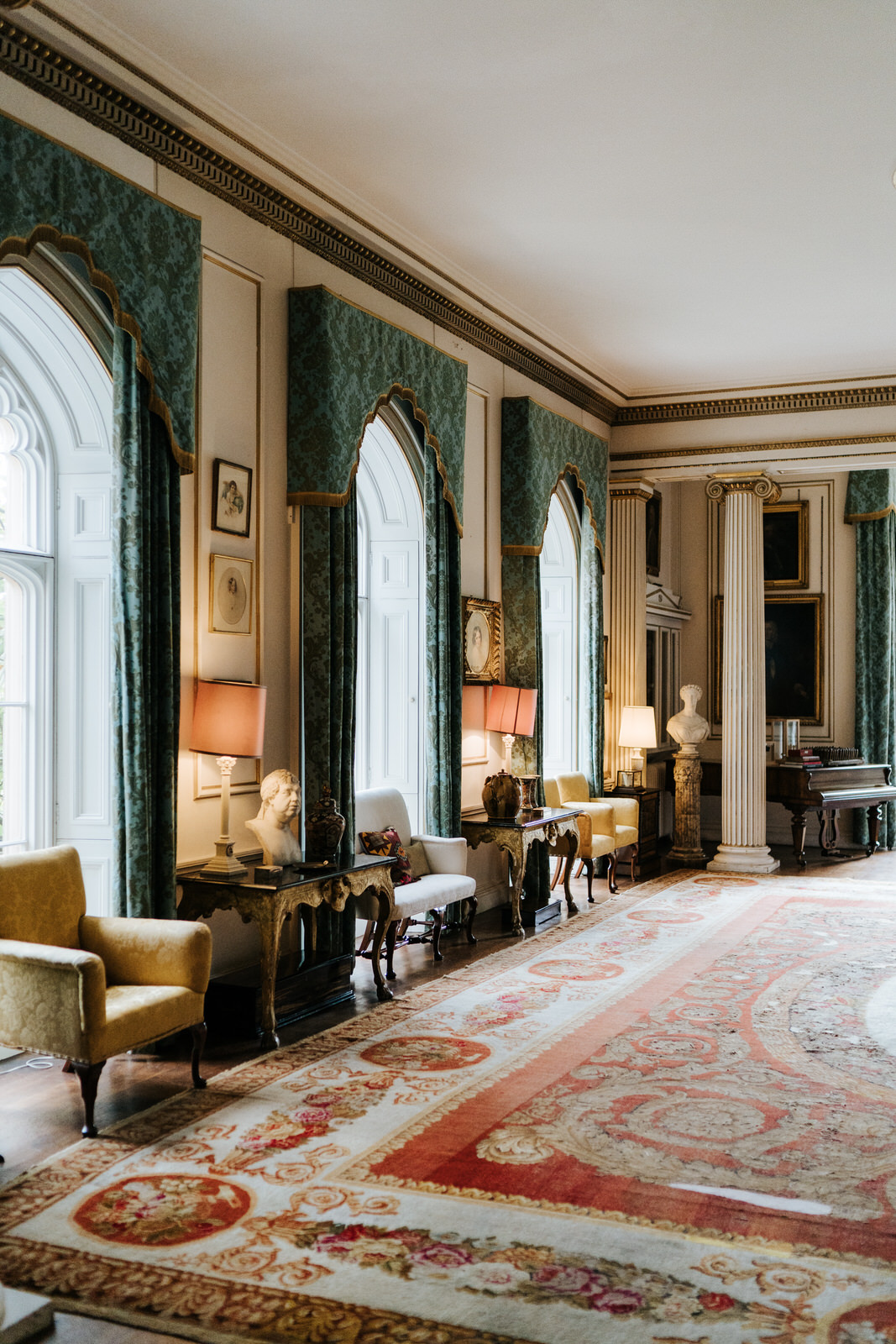 Ambiance-setting photograph of the drinks reception room at Hawarden Castle