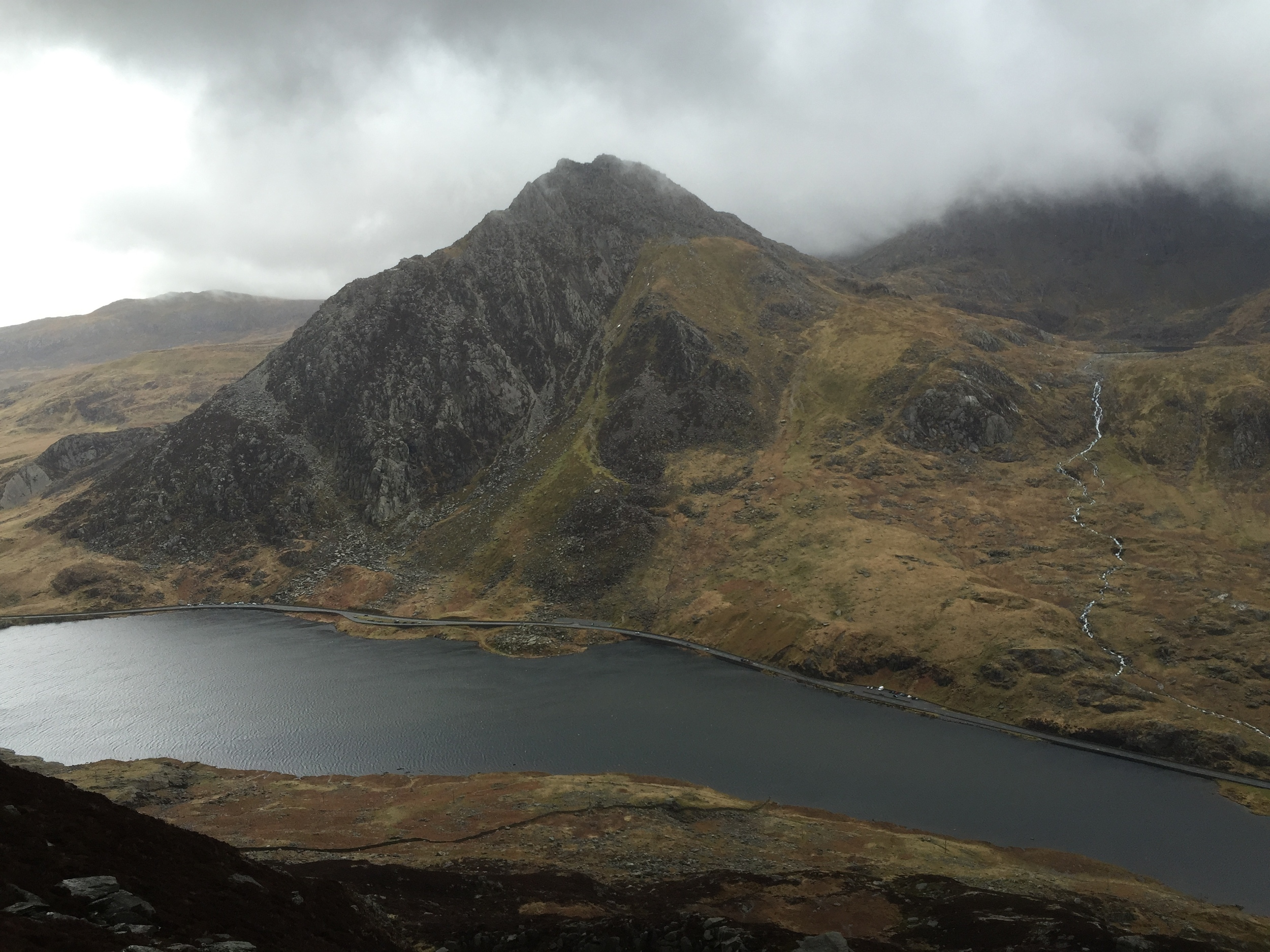 the view of tryfan across the valley