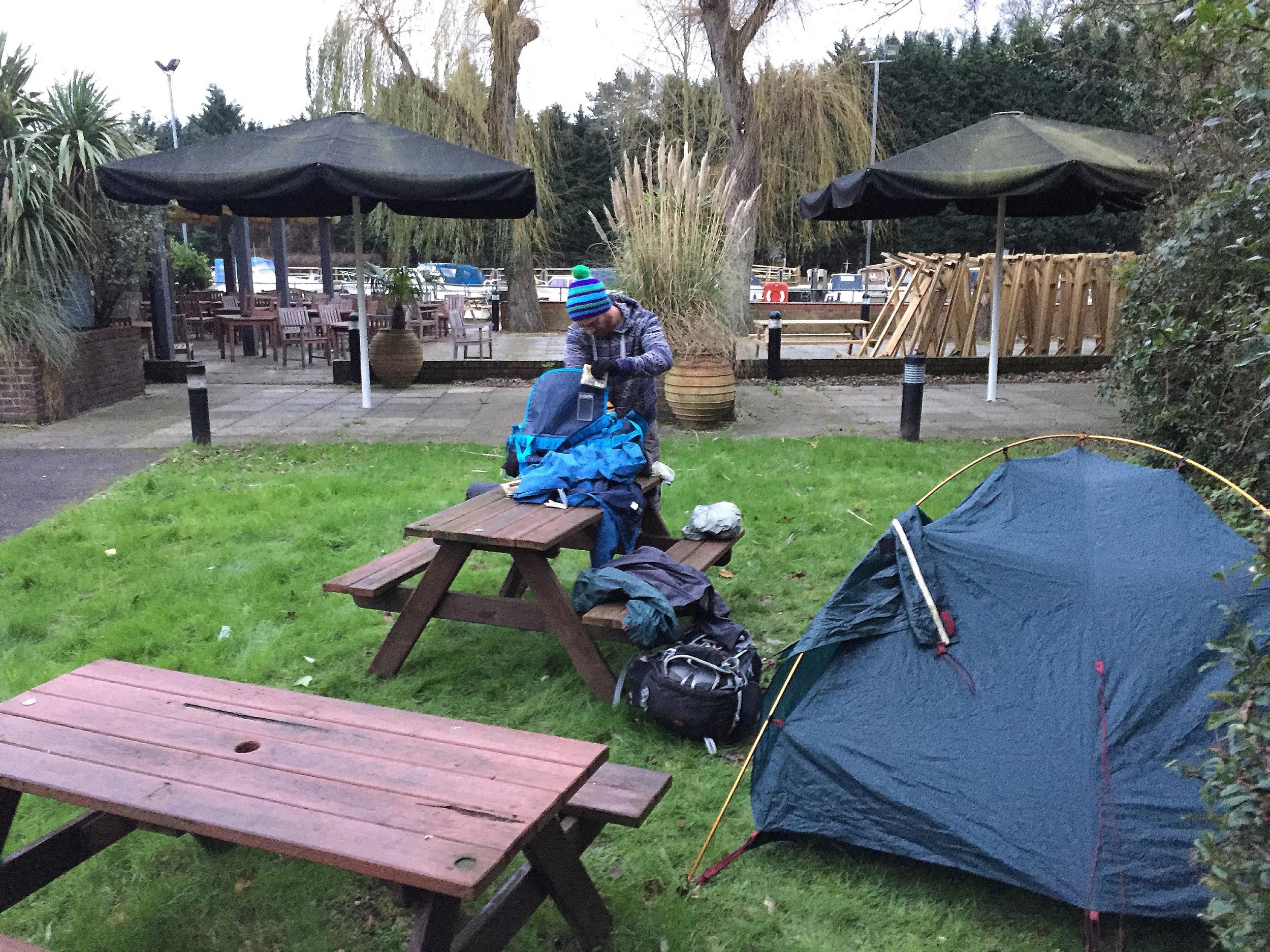 Camping in a pub beer garden
