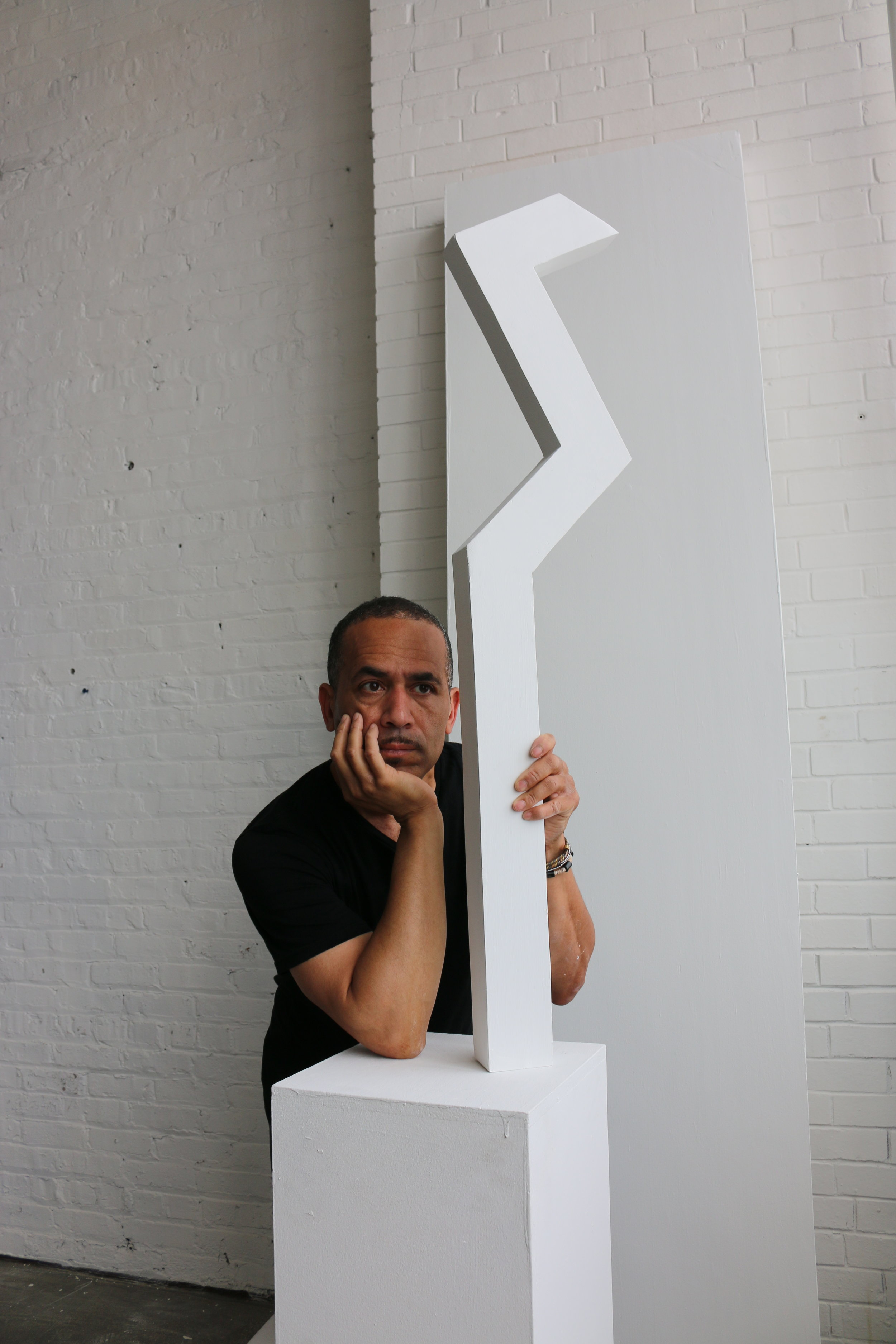 Derric Clemmons poses with unfinished 'Form.'