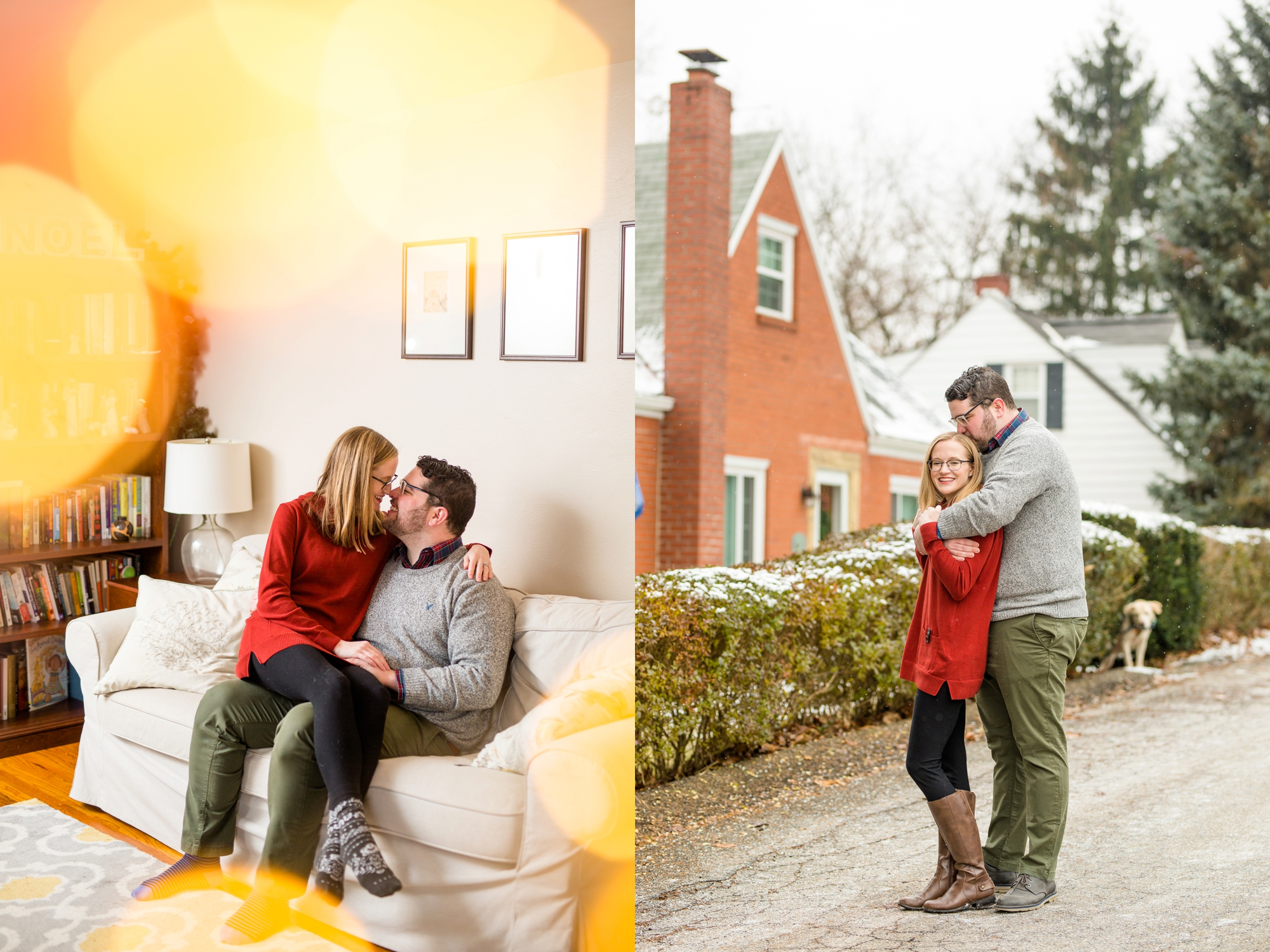 the best pittsburgh wedding photographers, best location for photoshoot in pittsburgh, pittsburgh engagement photos, in home couples session, cozy