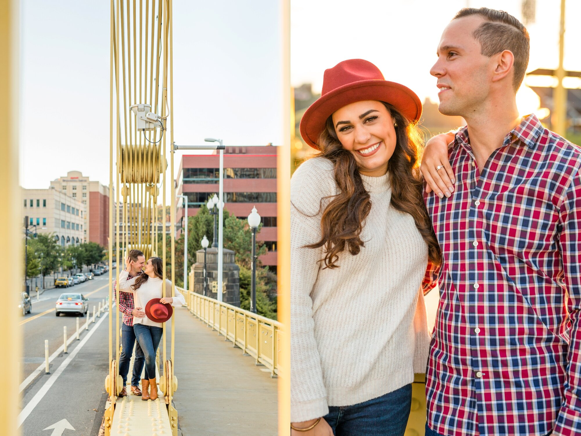 pittsburgh wedding photographer, allegheny commons park engagement photos, north shore engagement photos, roberto clemente bridge engagement photos, mexican war streets