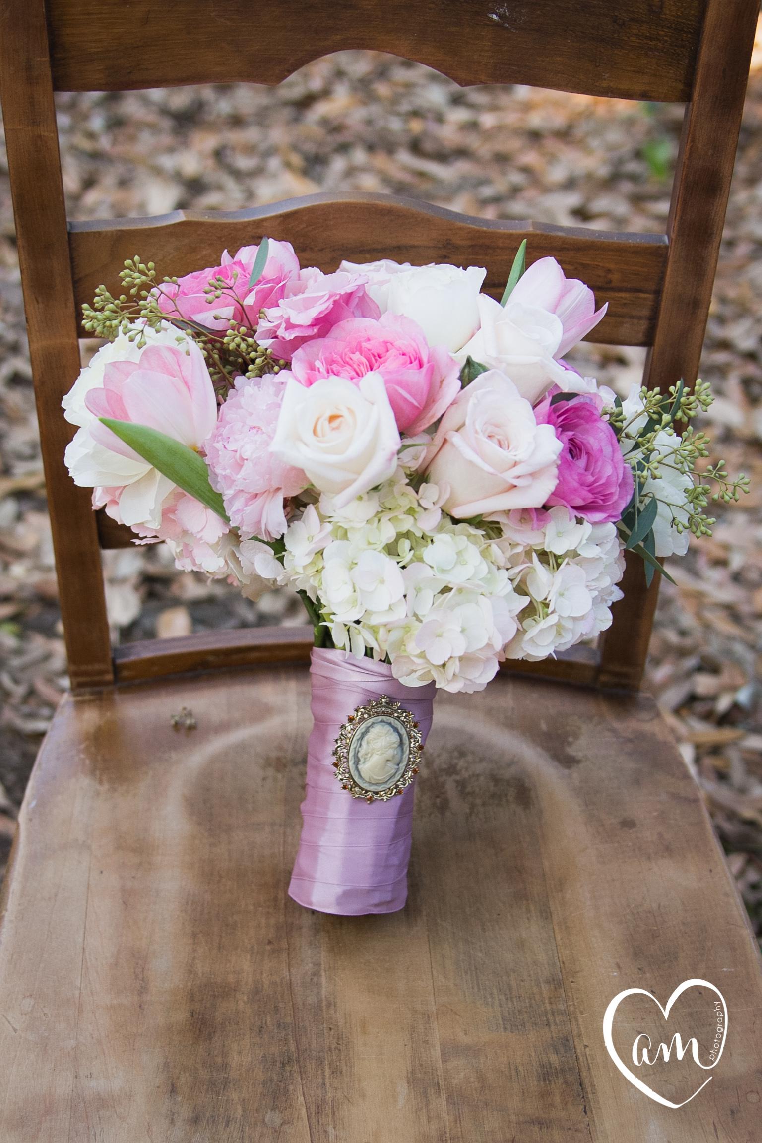Pink Bridal Bouquet photographed by Florida Destination Wedding Photographer