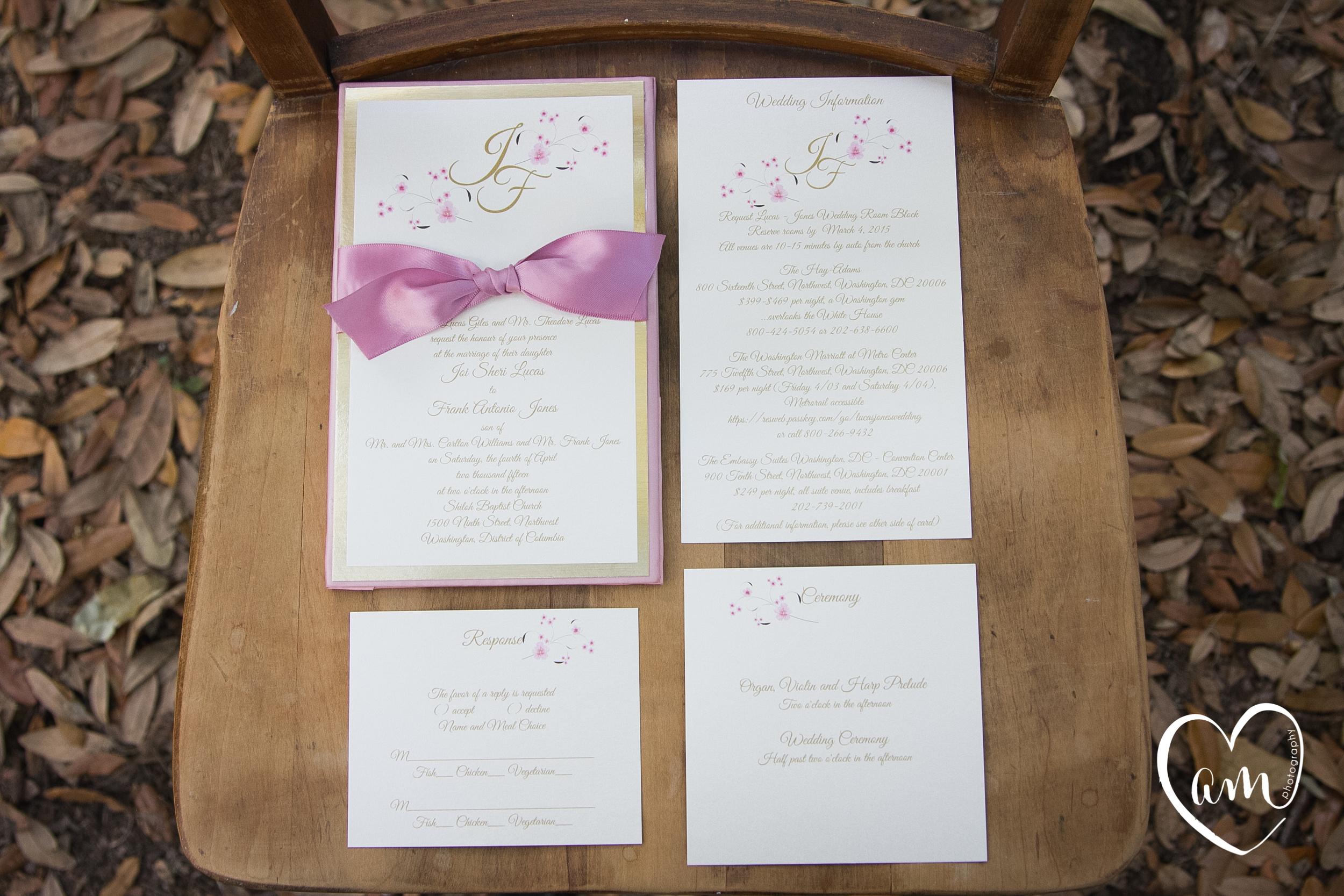 Pink wedding invitations photographed by Florida Destination Wedding Photographer