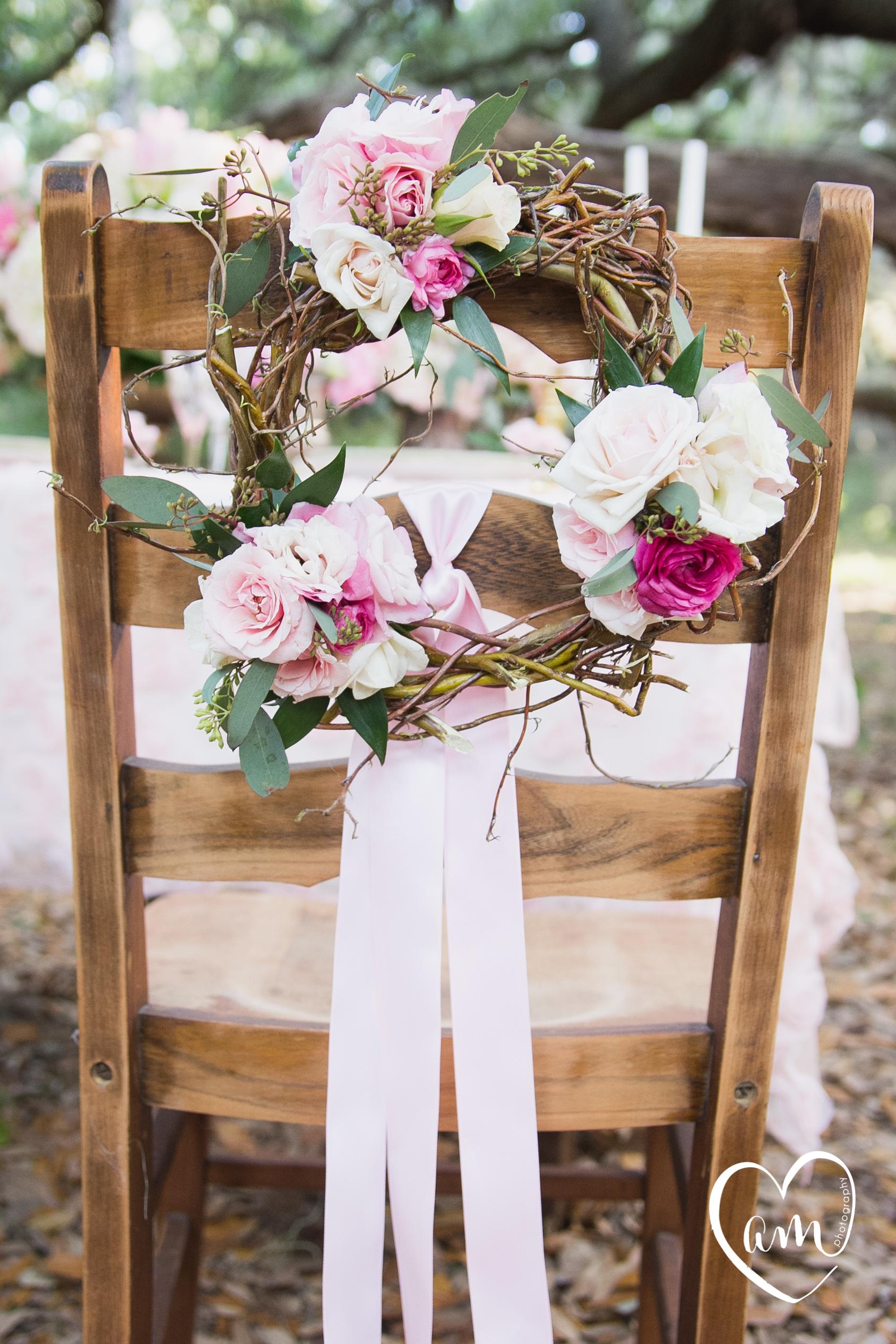 Floral Chair Wreath photographed by Florida Destination Wedding Photographer