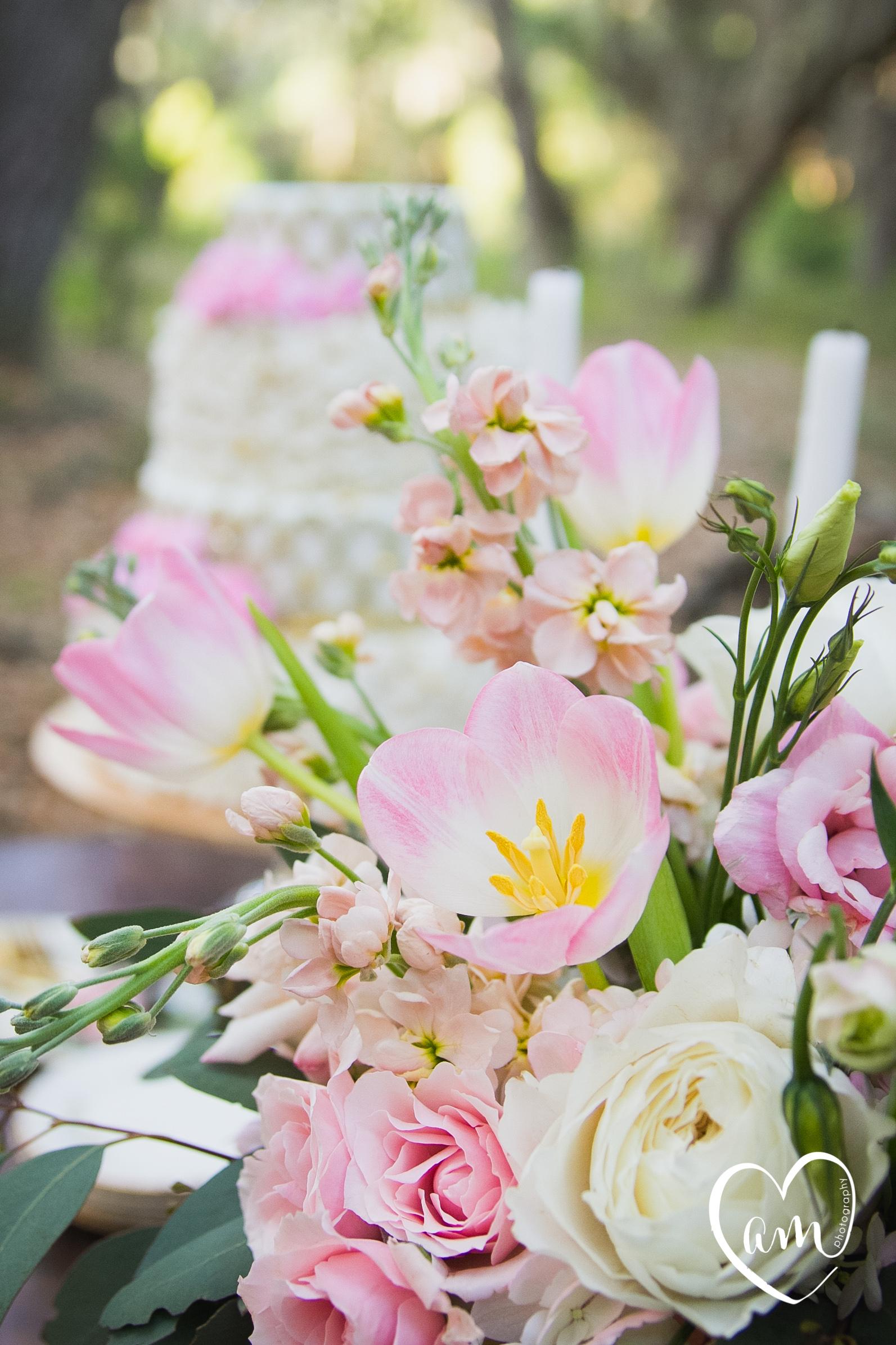 Pink wedding flowers photographed by Florida Destination Wedding Photographer