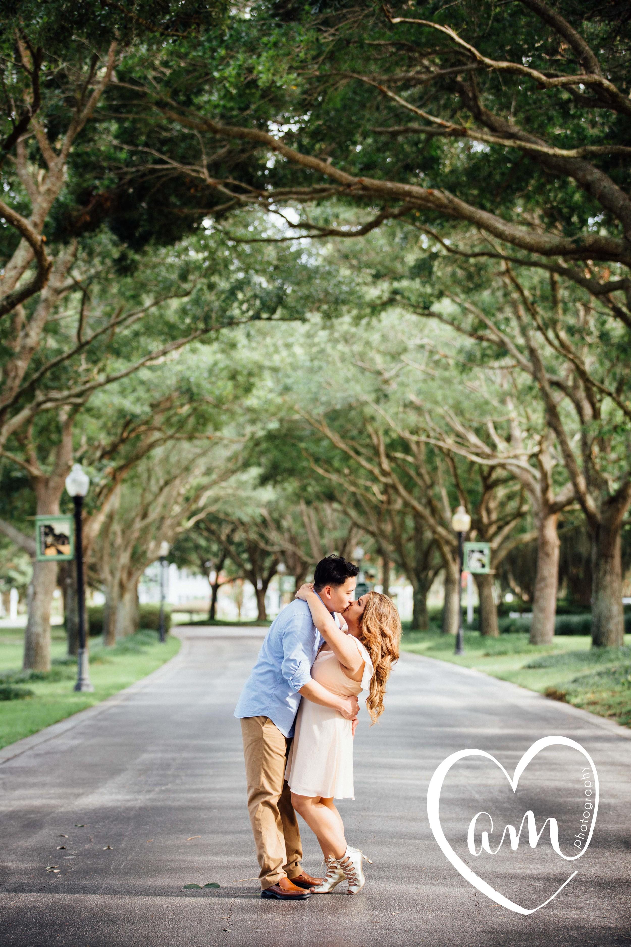Engagement photos at Cypress Grove Estate House in Orlando, Florida.