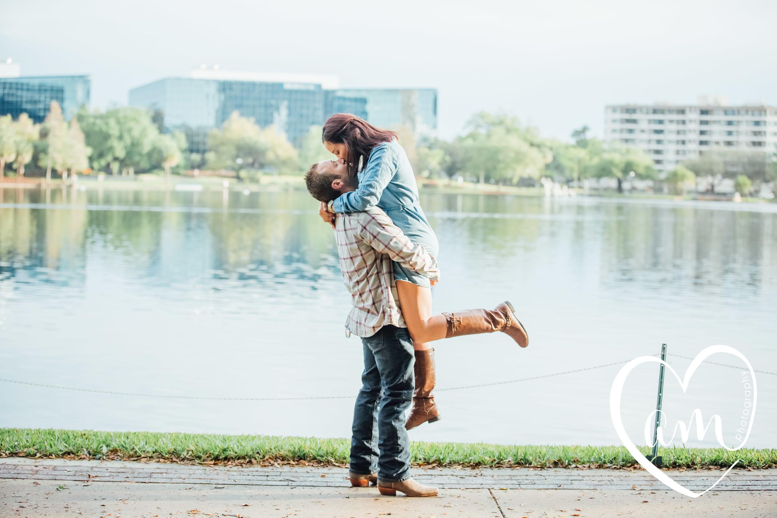 Orlando's Lake Eola engagement photos. Church Street engagement session. Photo by Amanda Mejias Photography: Orlando wedding photographer.