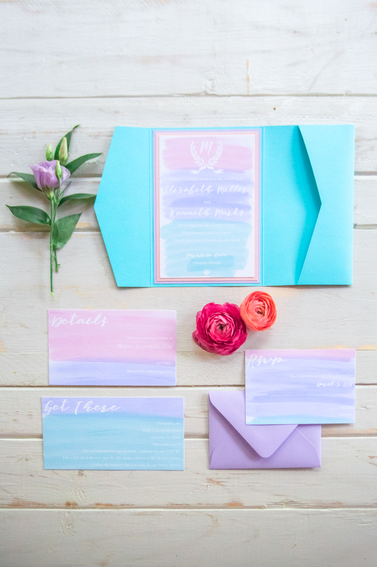 Watercolor wedding invitations. Photo by Orlando wedding photographers Flora Bloom Photography