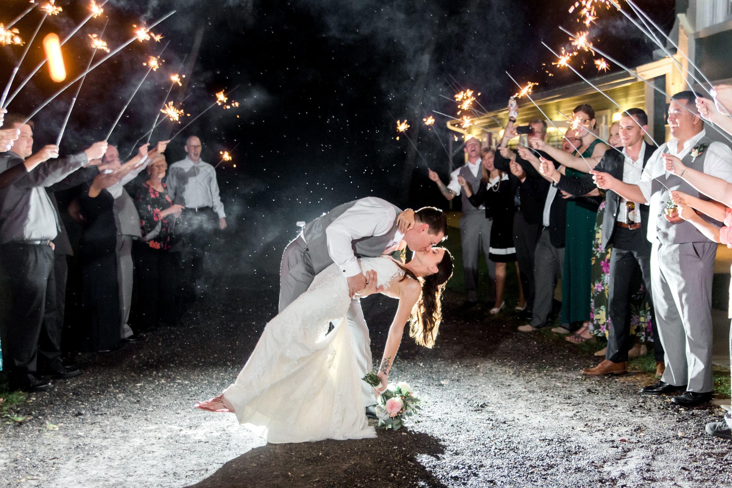 Banyan Estate Wedding Sparkler Exit. High End Orlando Wedding Photographer