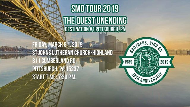Less than an hour before our first concert for the Quest Unending 30th Anniversary Tour in Pittsburgh PA! We hope to see everyone here! #SMOTour2K19