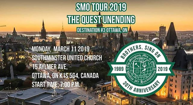 Our third #SMOCANADA concert in Ottawa, ON is in 7 hours! Come see us at Southminster United Church tonight! #SMOTour2K19